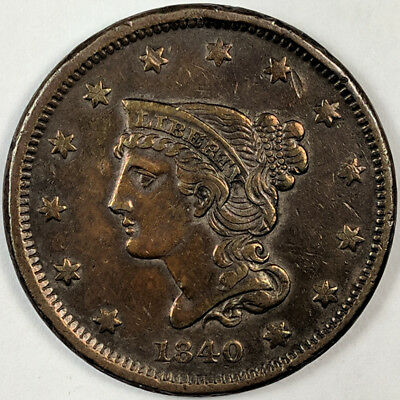 1840 Braided Hair Liberty Head Large Cent - Nice Us Copper Coin