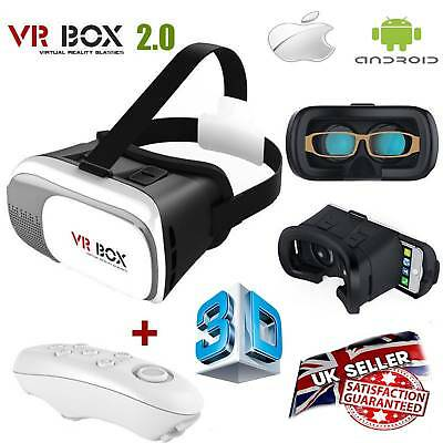 Universal 3D Virtual Reality VR Box V2.0 Glasses Headset + Bluetooth Remote