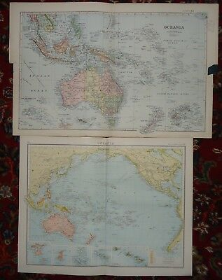 Antique Maps (x2) ~ OCEANIA ~ 1890s