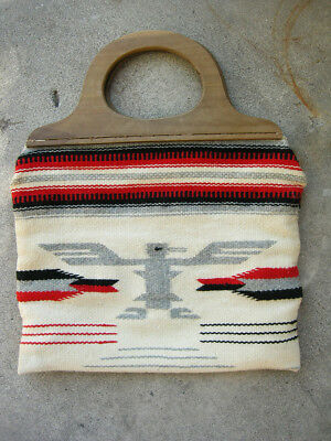 Vintage 1950's GANSCRAFT Hand Woven Tailored Wool Chimayo Wooden Handled Purse