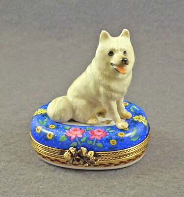 NEW AUTHENTIC FRENCH LIMOGES TRINKET BOX CUTE SAMOYED DOG PUPPY ON blue floral