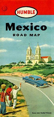 Vintage 1952 Mexico Road Map from Humble Oil Co.