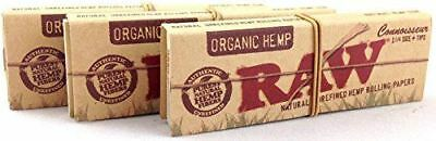 4 Pack of Raw Organic Hemp Connoisseur 1 1/4 Slim With Tips Rolling Paper