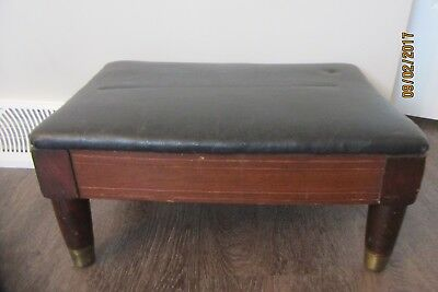 Vintage Antique Foot Stool Footstool Wood Wooden Leather