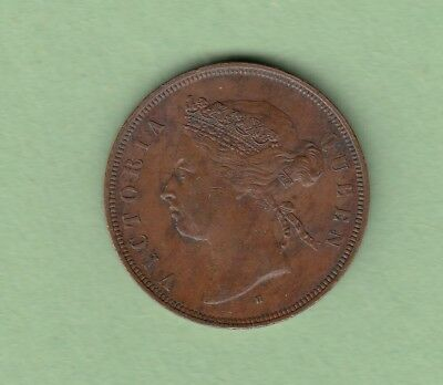 1874-H Straits Settlements 1 Cent Copper Coin - Queen Victoria - Nice Coinditon