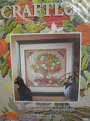 Woven Printed Tapestry Crewel Embroidery Stitch Orange Tree Flower Wool Yarn Kit