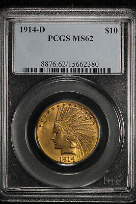 Nice Original Uncirculated 1914-D $10 Indian Gold Eagle!!  PCGS MS62!