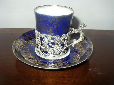 Attractive Solid Silver Mounted & Porcelain Chocolate  Cup And Saucer B'ham 1901