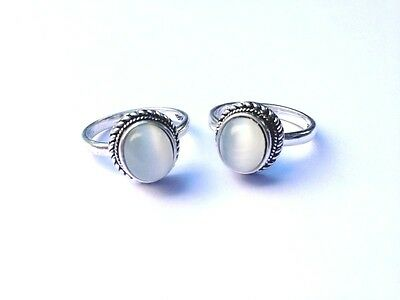 Tibetan Silver Moonstone blue Ring Cool Edgy Amulet Vintage style stone Crystal