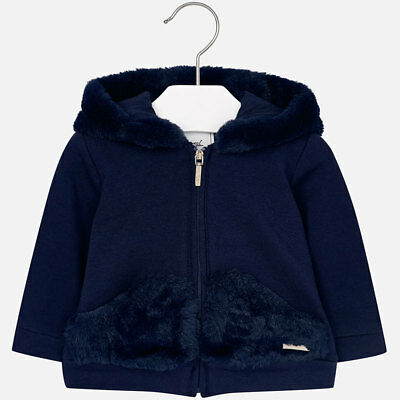 Mayoral Infant Girls Faux Fur Fleece Hoodie ( 02496) in Navy aged 18,24,36 Mnth