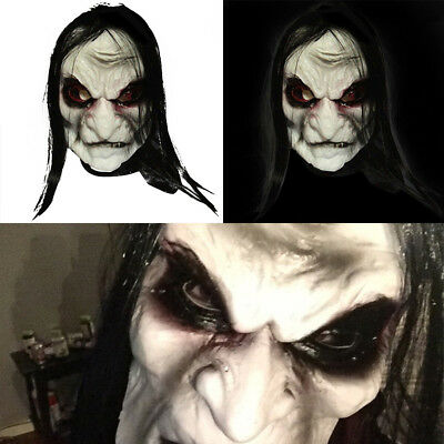 Scary Black Long Hair Devil Latex Mask Halloween Cosplay Fancy Dress Costume US