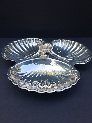 "Pilgrim Silver Plate Squirrel Sectioned Dish 11"" across"