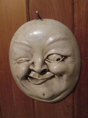 Antique Cermaic Plaster Smirking MOON FACE Wall Hanging Decoration 10''x9''