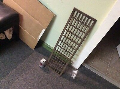 Vintage Antique Cast Iron Floor Heater Return Grate 8 x 30  rough opening