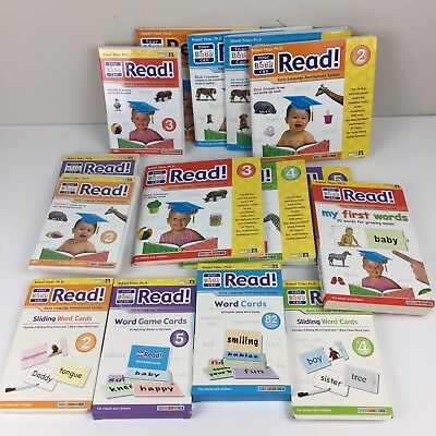 Huge Lot of 15 YOUR BABY CAN READ Books DVDs Flash Word Cards Games
