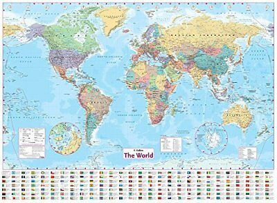 Collins World Wall Paper Map by Collins Maps New Sheet map  flat Book