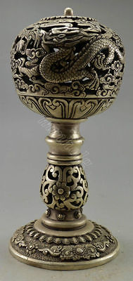 Collectible Rare Decorated Tibet Silver Carved Dragon Incense Burner