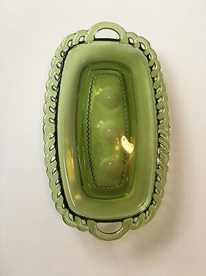 Green Glass Butter Dish Bottom
