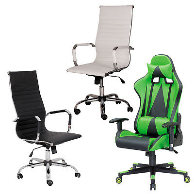 Modern Pu Leather Ergonomic High Back Executive Office Chair Sport Faux Gaming