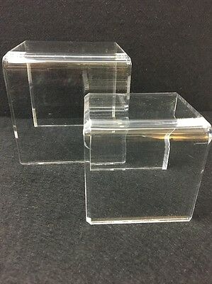 Set 2 Acrylic Display Risers 4x4x4 and 3x3x3 Clear Jewelry Figurines