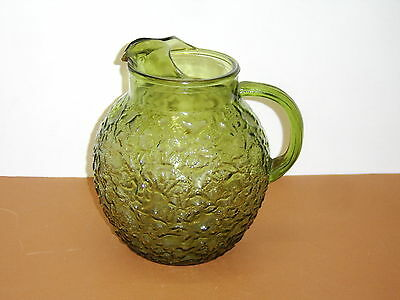 Anchor Hocking Glass Green Milano 86 Ounce Pitcher with Ice Lip Optic Handle