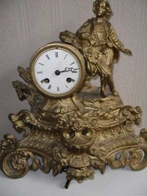 French Antique Spelter Clock