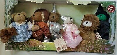 Boyds Bears Plush Wizard of Oz set of 6 Retired, Dorothy Scarecrow Lion Witch