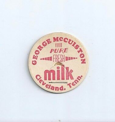 """George McCuiston""  Cleveland, Tenn.  milk bottle cap."