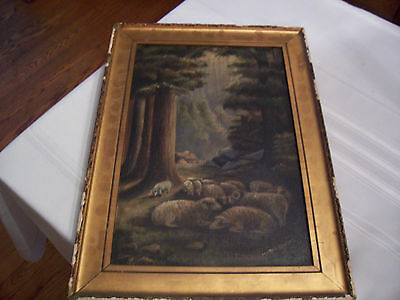 Vintage Sheep In Shadows/ Meadow Oil Painting By Marie Dumas 1920--No Reserve!!