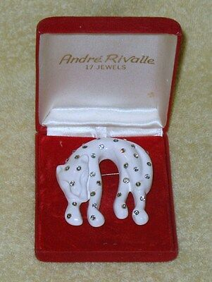 Vintage White Cat Pin Brooch With Jewels
