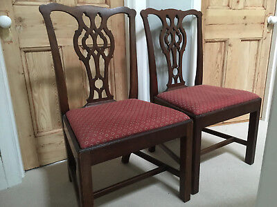 two mahogany Victorian antique dining chairs