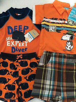 Lot of Infant, toddler boy Carter bathing suit set Snoopy short set, NWT,12 mos.