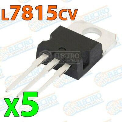 Regulador tension L7815cv L7815 15v 1,5A TO-220 - Lote 5 unidades - Electronica