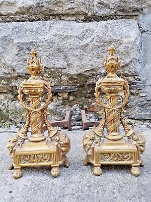 Vintage French Empire Style Cast Brass Wrought Iron Fire Place Chenets Andirons