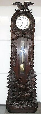 Beautiful Antique Fine Carved Wood Black Forest Grandfather Clock