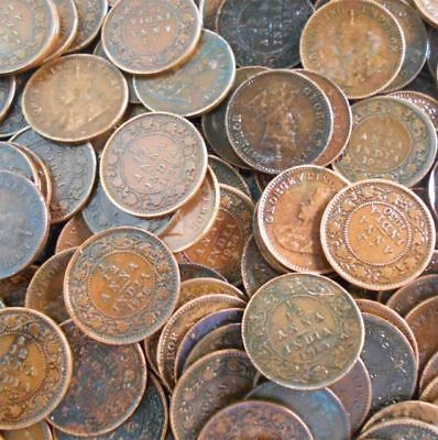 100 x Vintage collection of one anna Indian coins (100 coins) 1900 - 1959