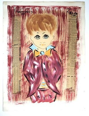 Vtg Mid-Century Painting/Collage on Paper Red Big Eyes Boy FRANCOIS PARIS