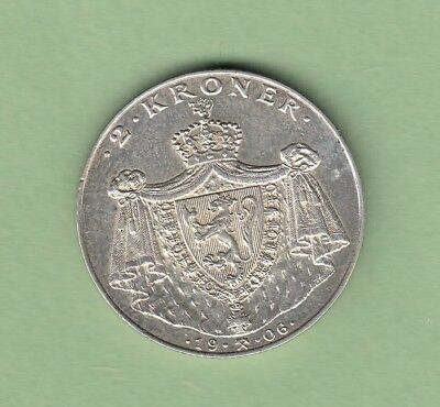 1906 Norway Independence 2 Kroner Silver Coin
