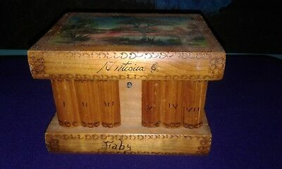 Vintage Puzzle Box Books Hand Painted w Orig Hidden Key 7x5x5 Wood Secret Box