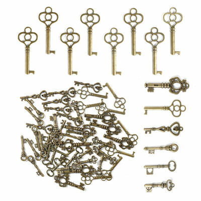 Set of 48 Antique Vintage Old Look Bronze Skeleton Keys Fancy Heart Bow Pendant