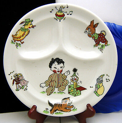 Mayer China Toyland Pattern Divided Child Toddler Plate 1965 Vintage