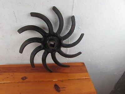 Lilliston Cast Iron Rotary Hoe Wheel Spiked Garden Old repurposed steampunk 16""