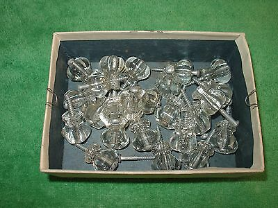 Vintage Glass Drawer Pulls Knobs Six Sided With Original Screws Lot of 24