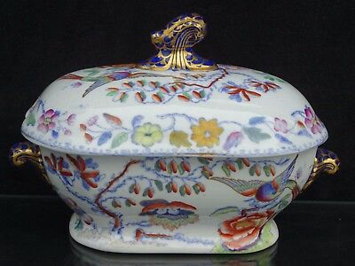 "Antique 19Th C. Mason's ""flying Bird"" Polychrome Miniature Tureen ~ Rare Piece"