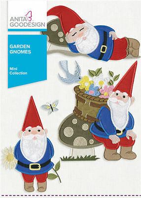 Anita Goodesign Garden Gnomes Embroidery Machine Design CD NEW 156MAGHD