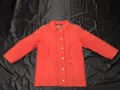 Burberrys' Vintage Quilted Red Jacket Size M Rare Burberry