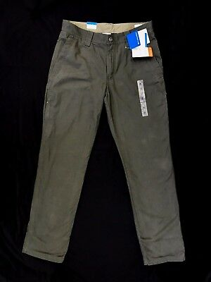 NWT Mens Columbia Roc Lined 5-Pocket Green Fleece Lined Pants (Retail $90) -326