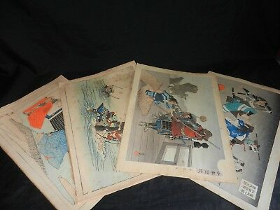 Circa 1870-1900 Japanese Hand Coloured Woodblock Prints, Collection of 4