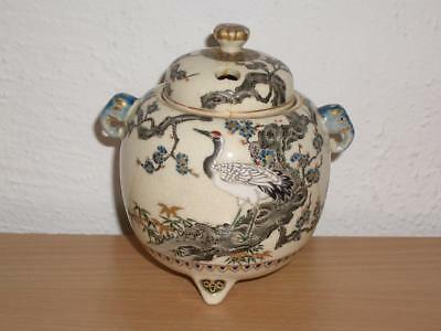 Good Japanese Imperial Satsuma Pottery Koro & Lid , C.1900, Signed, Lid A.f.