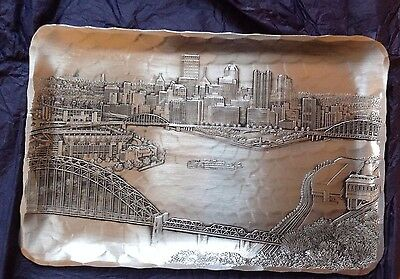 Wendell August decorative dish Pittsburgh cityscape